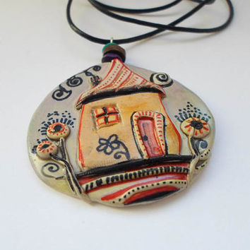 Hand Painted Pendant Necklace Polymer clay jewelry, Hand Made Trendy Mori Girl Necklace, Eco Friendly Miniature painting art Christmas gift
