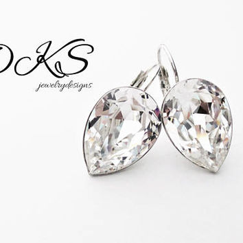 Swarovski  Beautiful Teardrop Pear Bridal Earrings, Crystal, Invisible Setting, 18x13 mm, Silver, DKSJewelrydesigns, FREE SHIPPING