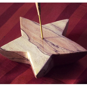 Carved Star Incense holder, spalted beech. Incense burner, star decor, ash catcher, hippie, woodland art, altar incense, pagan, wicca, UK