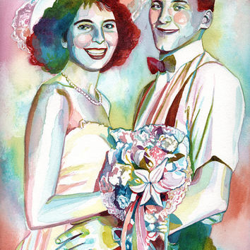 ORIGINAL gift for PARENTS in LAW - Custom portrait from their wedding day photo - Anniversary