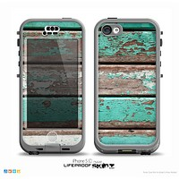 The Chipped Teal Paint On Wood Skin for the iPhone 5c nüüd LifeProof Case
