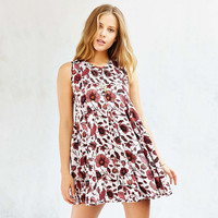 Floral Printed Sleeveless Drawstring Back Mini Dress