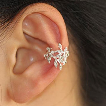 Glittering Leaves Rhinestone Single Ear Cuff | LilyFair Jewelry