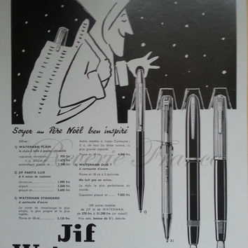 Vintage French Ad Waterman Pens 1954