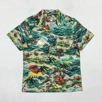 BOB DONG Men Aloha Shirt Cruise Tropical Luau Beach Hawaiian Party Coconut Tree Summer Casual Hawaii Shirts