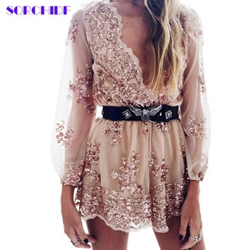 SORCHIDF  2017 Autumn Gold sequin embroidery elegant jumpsuit romper Transparent mesh sleeve playsuit women Deep v neck overalls
