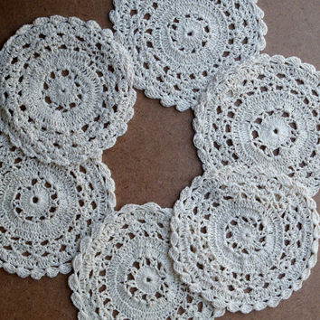 24 PCS Doilies - Handmade Crochet - Table Decor- Doilies Supplies- Natural Color - 4 Inches
