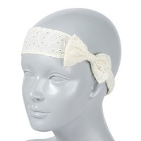 Off-White Eyelet Bow Stretch Headwrap – Claire's
