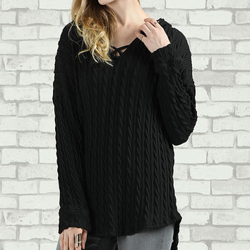 Black Cable-Knit Crisscross Hooded Sweater - Plus Too