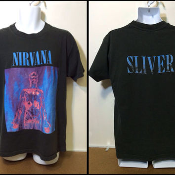 NIRVANA T-shirt Vintage 1992/ Authentic ORIGINAL SLIVER Promo Concert Tour Shirt/ EXcellENT Condition Grunge Rock Cobain Tee Size X-Large