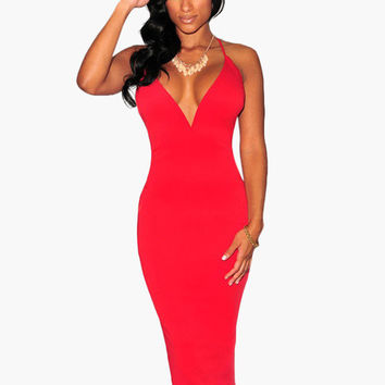 V-Neck Strappy Back Bodycon Midi Dress