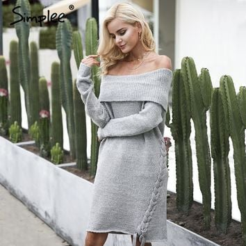 Simplee Off Shoulder Lace up Vintage Dress Women's Sexy Casual Knitted Elastic Long Sleeve Sweater Dress