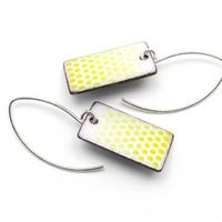 Yellow and White Earrings, Ombre Faded Polka Dots, Summer Jewelry, Enamel on Copper Rectangles, Sterling Silver Earwires
