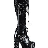 Black Faux Leather Lace Up Platform Boots @ Amiclubwear Boots Catalog:women's winter boots,leather thigh high boots,black platform knee high boots,over the knee boots,Go Go boots,cowgirl boots,gladiator boots,womens dress boots,skirt boots,pink boots,fash