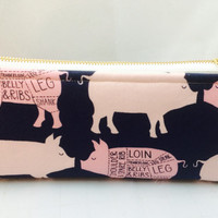 Pig print medium makeup bag with gold zipper