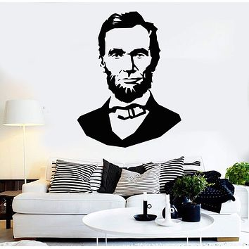 Vinyl Wall Decal Abraham Lincoln Politics President United States USA Stickers Unique Gift (ig3719)