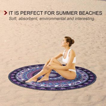 Round Shape Printed Polyester Yoga Mat