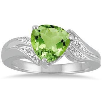 2.25 Carat Trillion Cut Peridot and Diamond Ring in 10K White Gold