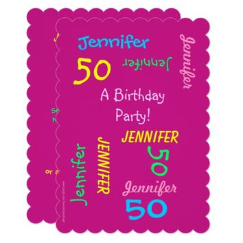 50 Years Young Birthday Party Hot Pink Invitation