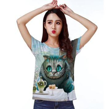 Track Ship + T-shirt Tee T Top Tee Alice in Wonderland Cheshire Cat Eyes Smile Dishes Porcelain Enjoy Afternoon Tea 1318