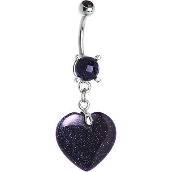 Natural Blue Goldstone Heart Belly Ring