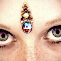 Jezebel Bindi, aurora borealis purple stone, irridesent, fairy, gypsy, fantasy, gold, vintage, tribal fusion, belly dance, fae, wicca