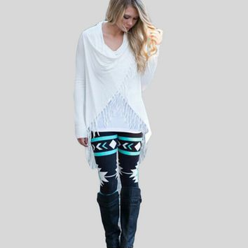 Irregular Shawl Blouse With Fringe