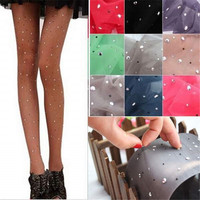 Fashion Women Ladies Basic Stretch Sexy Thin Bling Crystal Rhinestone Pantyhose Tights Stockings 12 Colors