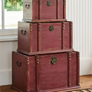 Antique, Distressed Wood Trunk - Set of 3 - Red