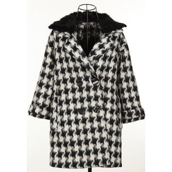 Checked Long Sleeve Turn Down Collar Wool Coat