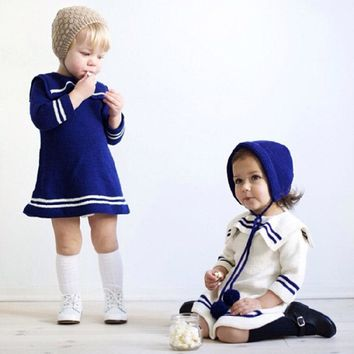 New Year Dress For Girls Navy Style Knitted dresses Kids white blue Clothes Sweaters Knee-length Baby Brand princess Costume