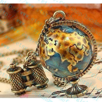 3D world globe and telescope pendant travel trip necklace,Journey To The Center Of The Earth