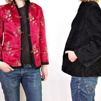 70s Chinese Reversible Jacket. Faux Fur + Red Peacock Crane Design Sateen