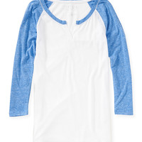Aeropostale  Womens 3/4 Sleeve Sheer Raglan Shirt