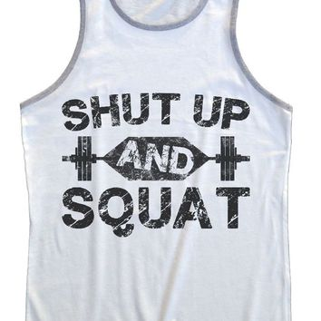 Shut Up And Squat Mens Tank Top By Funny Threadz