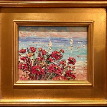 """Abstract Red Wildflowers Seascape"", Original Oil Painting by artist Sarah Kadlic, 8x10"" Gilt Framed"