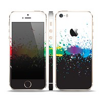 The Rainbow Paint Spatter Skin Set for the Apple iPhone 5s