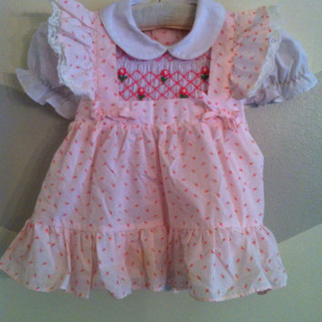 Vintage Baby Clothes French Pink and White Smocked Apron Dress, 12-24 mos