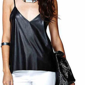 Faux Leather Tops New Fashion PU Stitching Chiffon Blouse Sexy Backless Perspective Solid Black Camis