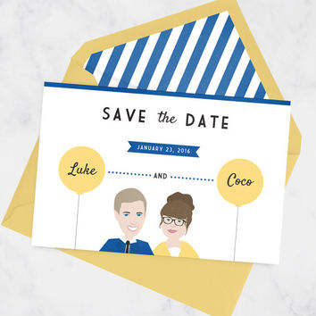 Fun Save the Date Card with Couple Portrait and Matching Envelope Liner, Unique Wedding Save the Date Post card