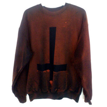 Unisex Grunge Acid Wash Inverted Cross Sweater Sweatshirt Jumper