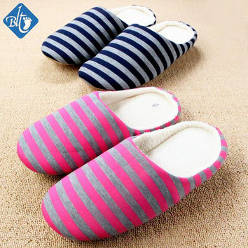 Slippers Men Women Indoor Pantufas Winter Cotton Striped Slipper Home Shoes Soft Floor Household Female/male Plush Chinelos