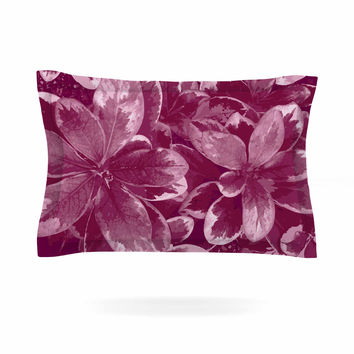 "Julia Grifol ""Warm Leaves"" Red Digital Pillow Sham"