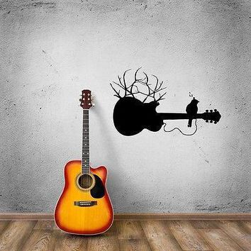 Wall Stickers Vinyl Decal Guitar Music Bird Branch Cool Room Decor Unique Gift (ig739)