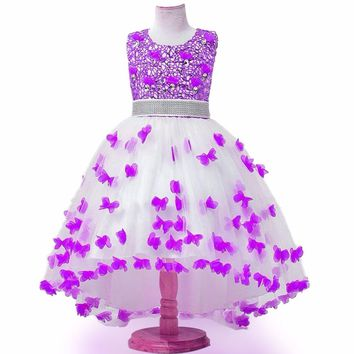 Flower Girl flower girl Dress Children Sequins Trailing Butterfly Girls Wedding Dress Kids Ball Gown Bow Party Dress of Girl