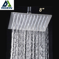 "8"" Stainless Steel Square Shower Head Over-head Shower Sprayer Top Shower Head Chrome Finish"