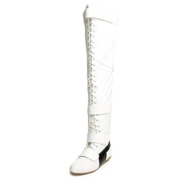 White Lace Up Strap OTK Thigh High Flat Sneaker Boots