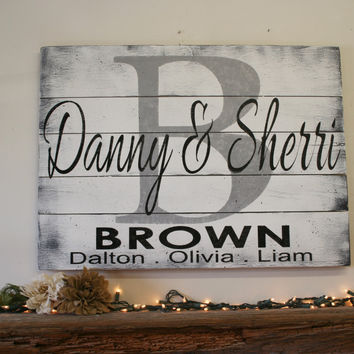 Custom Wood Sign Name Sign Personalized Name Sign Pallet Sign Family Name Sign Housewarming Gift Anniversary Gift Wall Art Wall Decor