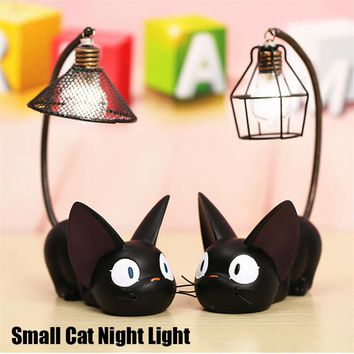 Little Black Cat Night Light Desk Figurine -  LED