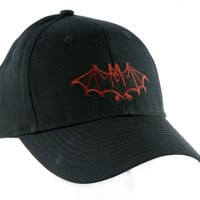 Red Vampire Bat Hat Baseball Cap Vlad Dracula Gothic Clothing